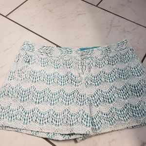 Ann taylor loft factory lace overlay teal shorts